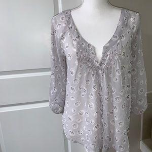 Lauren Conrad grey floral button down blouse.